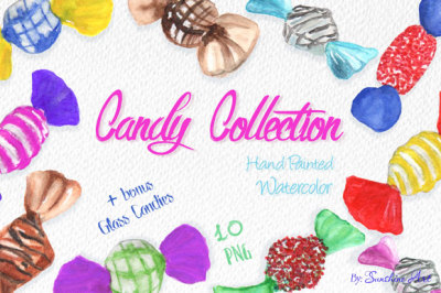 Hand Painted Watercolor Candies