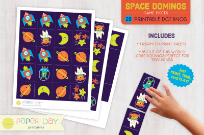 Printable Space Dominos Game
