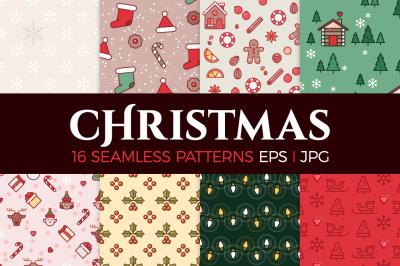 16 Christmas seamless patterns