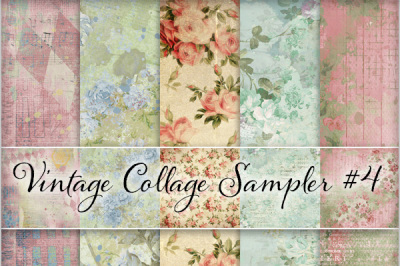 Vintage Floral & Ephemera Backgrounds - Set #4