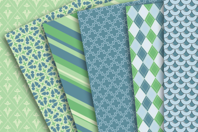 Digital Paper: Blue and Green patterns of Damask, Stripes, Argyle, diamonds, Scales, quarterfoil