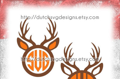 Set of 2 reindeer monogram frame cutting files, in Jpg Png SVG EPS DXF, instant download for Cricut & Silhouette, deer, christmas, xmas, diy