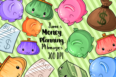 Kawaii Money Planning Clipart