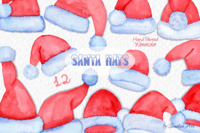 Santa Claus Hats - Watercolor Clip Art