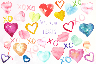 Hearts watercolor Valentines clipart