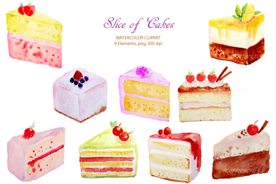 Watercolor Cake Slices