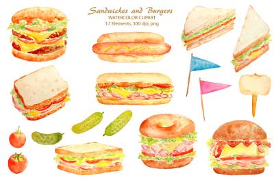 Watercolor Sandwich Burger Hotdog
