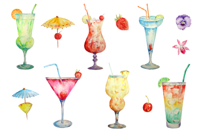 Hand painted watercolour cocktails