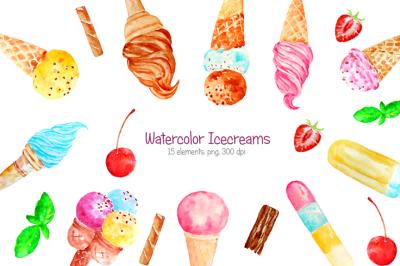 Watercolor ice creams clipart