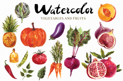 Watercolor vegetables & fruits