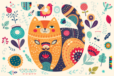 Big collection: decorative cat and flowers
