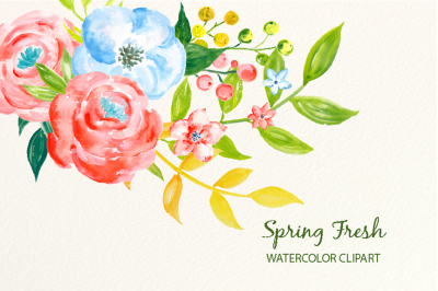 Watercolor clipart spring fresh