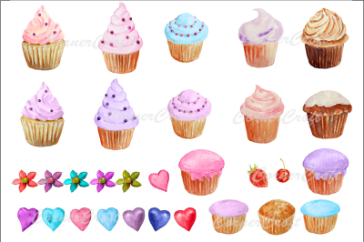 Watercolor clipart cupcakes