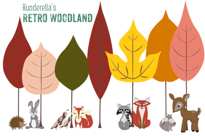 Retro Woodland Creatures (Editable Vector Files)