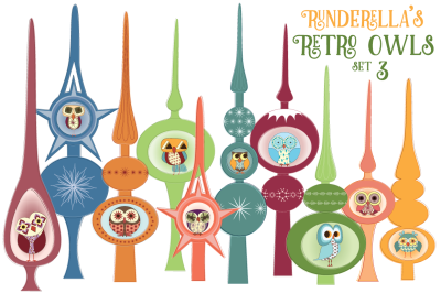 Runderella's Retro Owls (Vector files)--Set 3