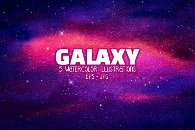 Galaxy. Watercolor illustrations.