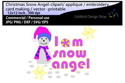 snow angel Clip art / embroidery
