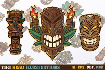 Tiki Head Illustrations Set