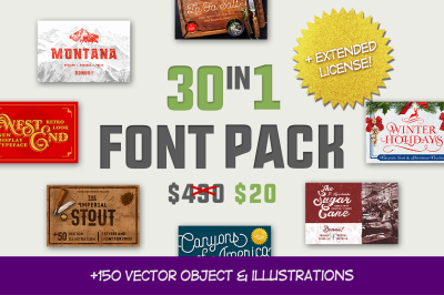 30 FONTS with extended license