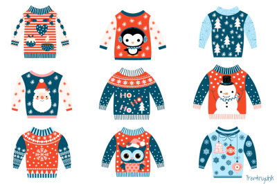 Tacky Christmas sweater clipart, Ugly Christmas sweaters clip art set, Cute winter holiday sweaters