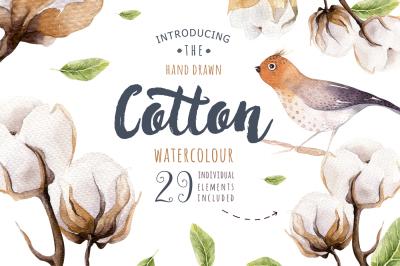 Watercolour cotton & birds