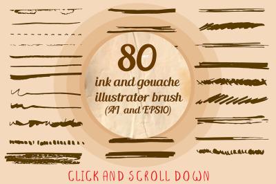 80+ ink brushes set for Illustrator