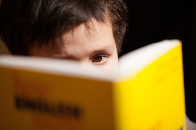 Young boy concentrating on reading a book