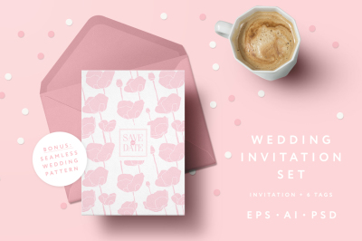 Pink Poppies Wedding Invitation Set