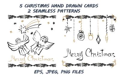 5 Christmas hand drawn cards