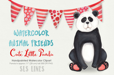 Cute Panda Watercolor Clipart