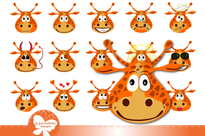 Giraffes with different emotions, icons. The archive contains a 300 dpi JPEG on a white background, PNG transparent background, EPS 10 in any desired size.