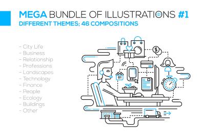 Mega Bundle of Line Design Illustrations