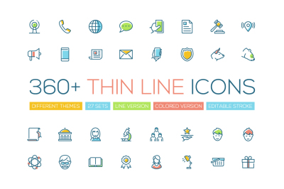 360+ Thin Line Design Icons Bundle