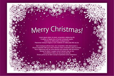 Vector Christmas snowflakes frames set