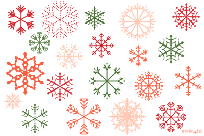 Red Christmas snowflakes clipart set, Pink snowflake clip art, Winter holiday clipart