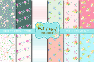 Watercolor Digital Paper Pink and Mint