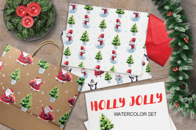 Watercolor Holly Jolly Collection • Elements & Patterns