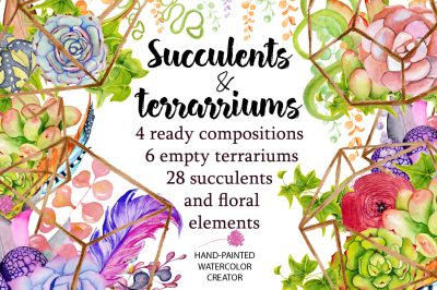 Watercolor Succulents and cactus terrariums. Cactus clipart. Hand painted clipart, succulents clip art.