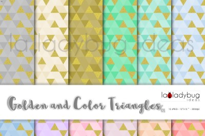 Golden and color triangle digital paper colection.