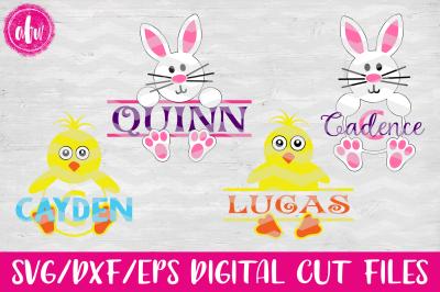 Split & Monogram Bunny & Chick - SVG, DXF, EPS Digital Cut Files
