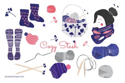 Knitting and yarn set