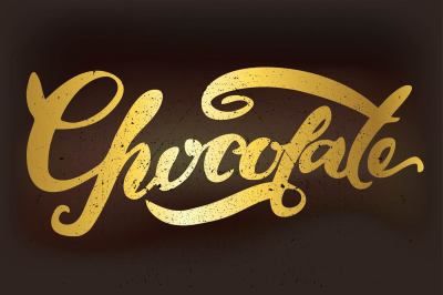 Chocolate lettering. Hand drawn.