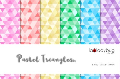 Pastel colors triangles patterns