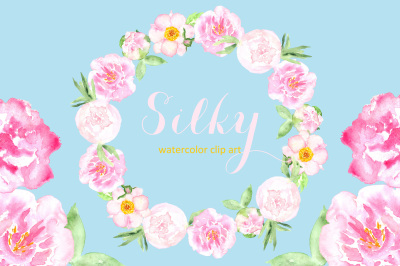 Peony Silky. Watercolor clipart