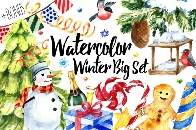 Watercolor Winter Big Set