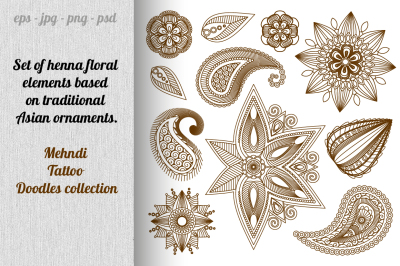Mehndi Tattoo Doodles collection