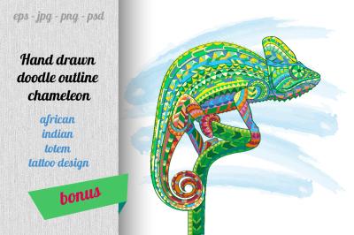Hand drawn doodle outline chameleon