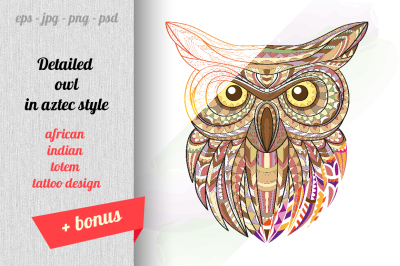Detailed owl in aztec style