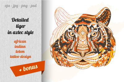 Detailed tiger in aztec style