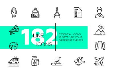 182 Line Design Icons Bundle